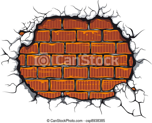 Damaged brickwall - csp8938385