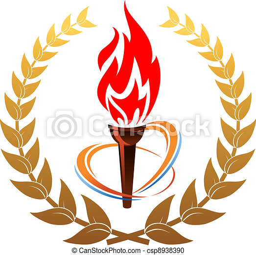 Flaming torch in laurel wreath -