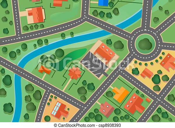 Map of suburb village - csp8938393