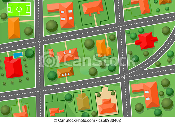 Real Estate Comps on Vector   Map Of Cottage Village   Stock Illustration  Royalty Free
