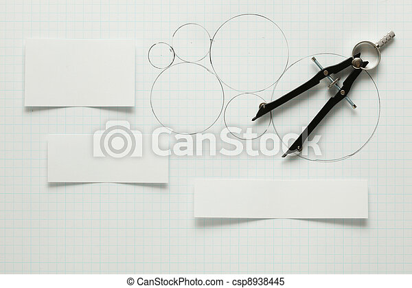 Blank pieces of paper with pen & compass - csp8938445