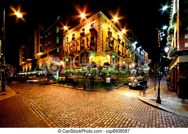 Temple Bar Street in Dublin, Irelan - csp8938587