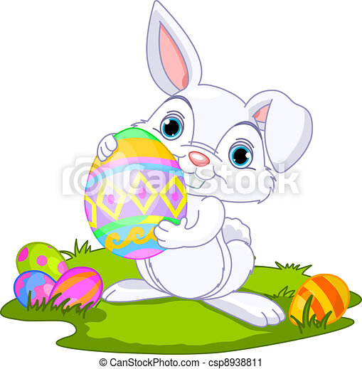 Easter. Bunny carrying egg - csp8938811