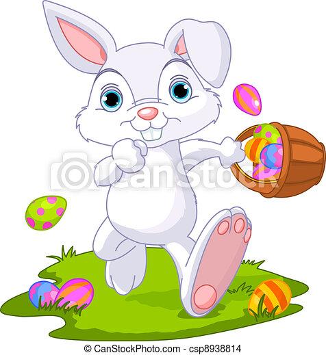 Easter. Bunny Hiding Eggs - csp8938814