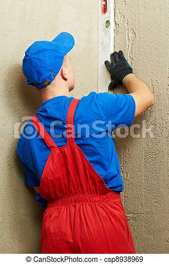 construction worker plasterer - csp8938969