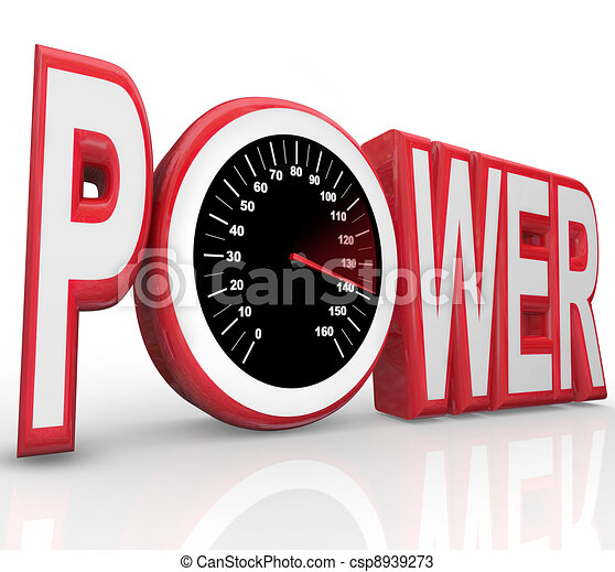 Power Word Speedometer Powerful Energy Speed Racing - csp8939273