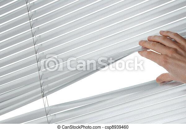 Female hand opening venetian blinds - csp8939460