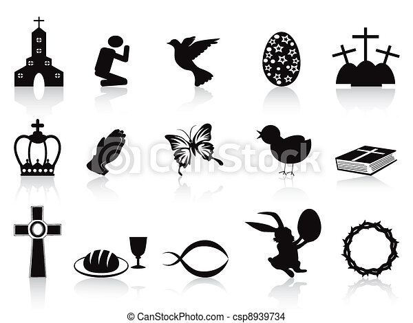black easter icons set - csp8939734