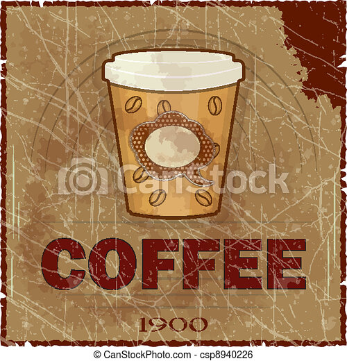 Grunge Cover for Coffee Menu - csp8940226