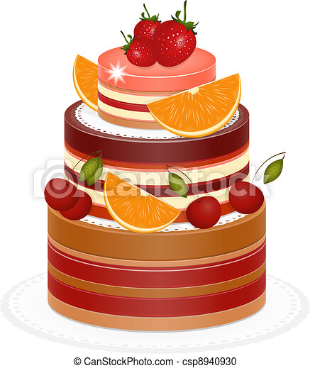 Chocolate Berry Cake on white background  - csp8940930