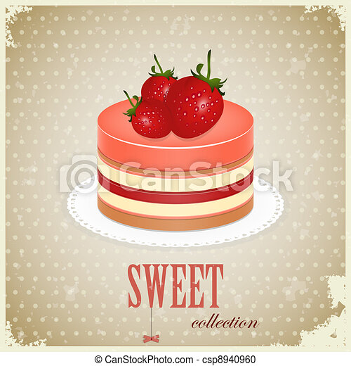 Sponge Cake with Strawberry - csp8940960