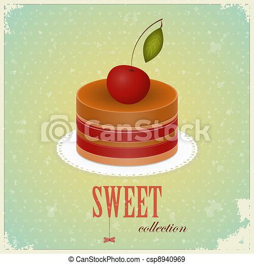 Chocolate Cake with Cherry - csp8940969