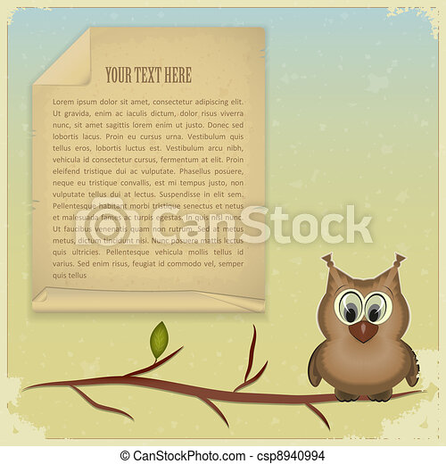 wise owl and old paper - csp8940994