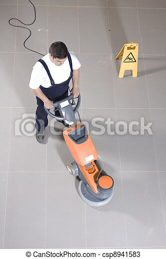 cleaning floor with machine - csp8941583