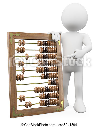 3D man with a huge abacus - csp8941594