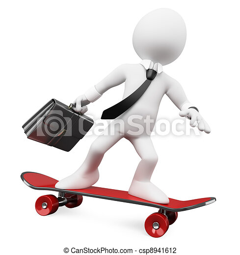 3D Businessman going to work on a skateboard - csp8941612
