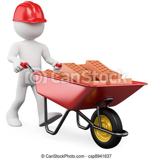 3D worker pushing a wheelbarrow with bricks - csp8941637