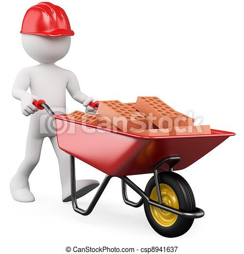 3D worker pushing a wheelbarrow with bricks - csp8941637