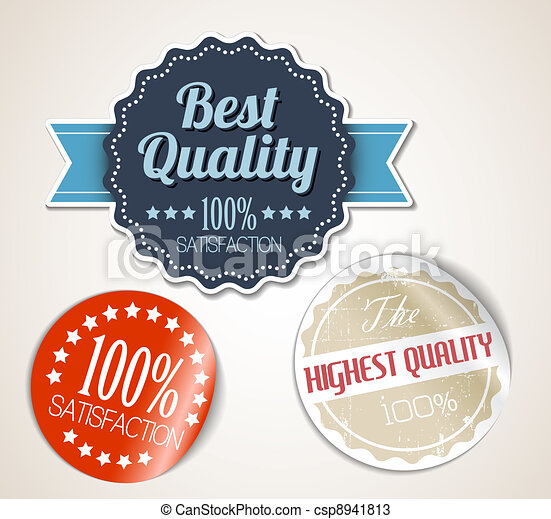Old vector round retro vintage grunge stickers - csp8941813