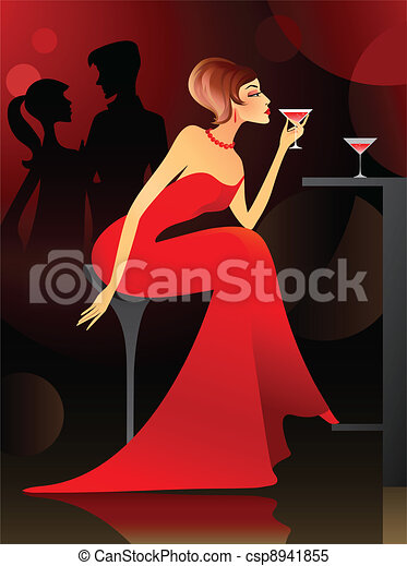 Woman having cocktail at the bar - csp8941855
