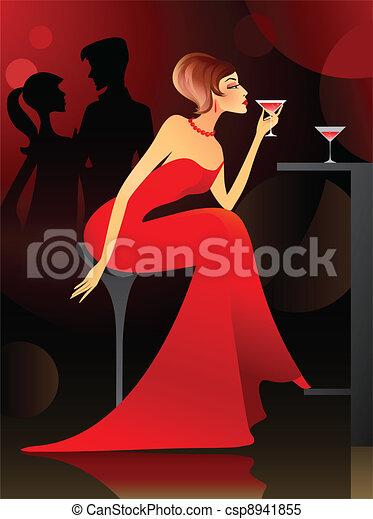 Woman having cocktail at the bar - csp8941855