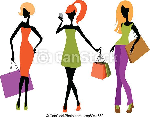 Young girls shopping - csp8941859