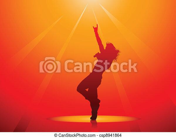 Hard rock singer silhouette - csp8941864