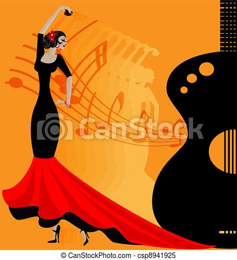 flamenko dancer in red-black - csp8941925