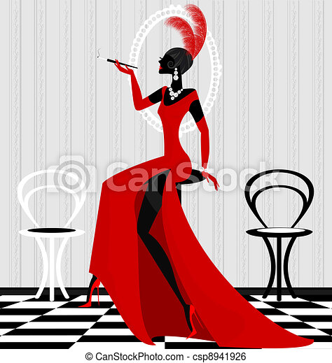 smoking lady in red - csp8941926