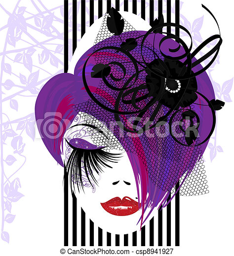 Vectors Illustration of abstract purple-haired dame - on a white ...