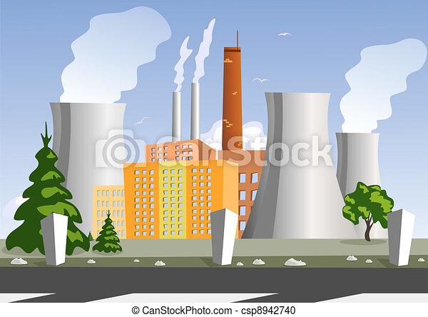 Electrical generating plant, vector illustration - csp8942740