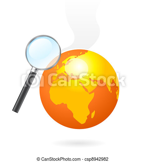 Magnifying glass heating earth - csp8942982