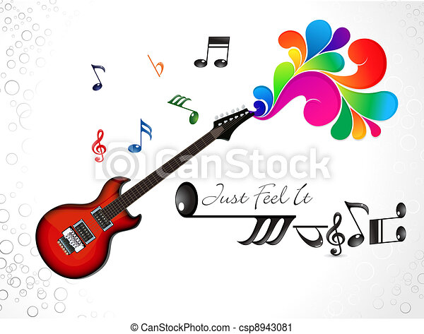 abstract colorful musical guitar background - csp8943081