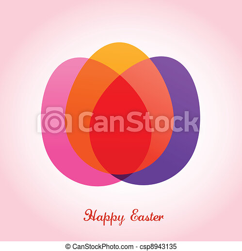Easter greeting card with eggs - csp8943135