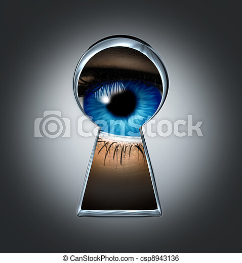 Eye Looking Through A Keyhole - csp8943136