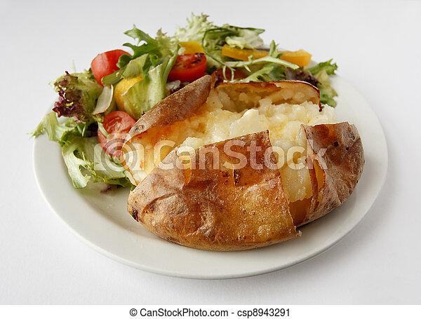 Plain Butter Jacket Potato with side salad - csp8943291