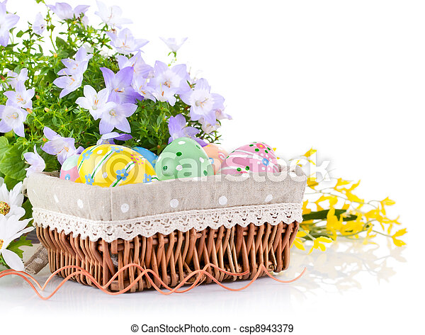 easter eggs in basket with spring flowers - csp8943379