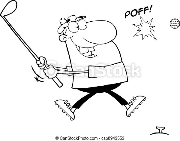 Outlined Man Hitting A Golf Ball - csp8943553
