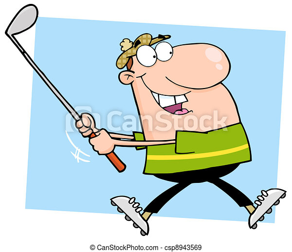 Happy Male Golfer Running - csp8943569