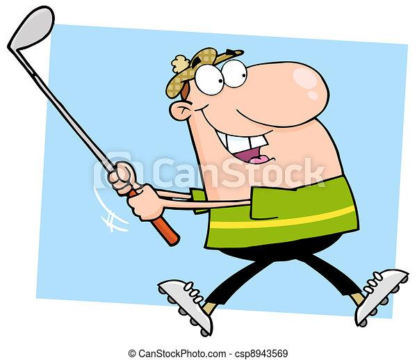 Happy Male Golfer Running - csp8943569
