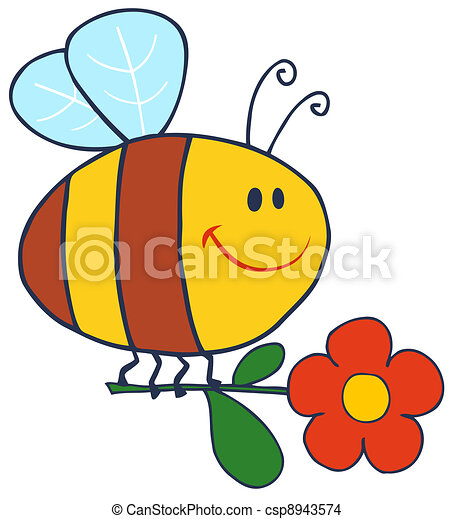 Happy Bee Flying With Flower - csp8943574