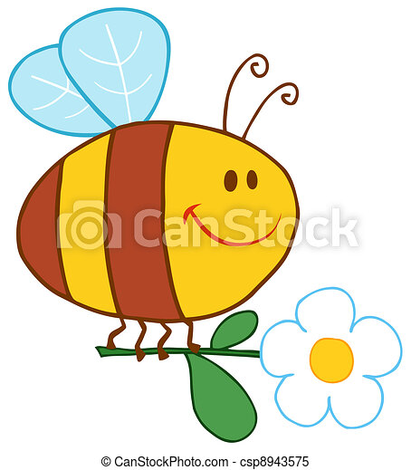 Happy Bee Flying With Flower - csp8943575