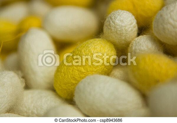 silkworm cocoon macro detail - csp8943686