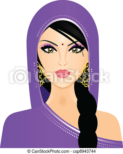 Vector illustration of Indian woman - csp8943744