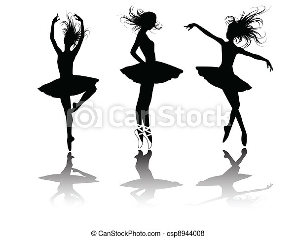 the vector ballet dancers silhouette - csp8944008