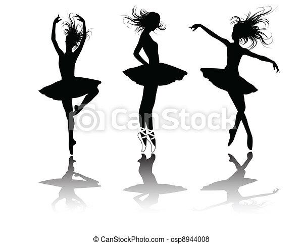 the vector ballet dancers silhouette - csp8944008