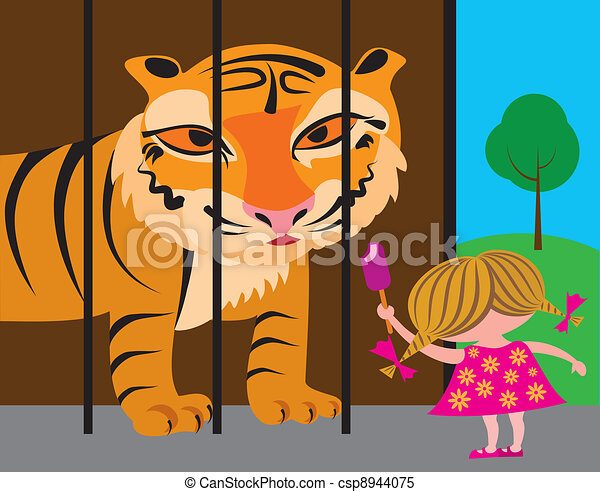 child and tiger at the zoo - csp8944075