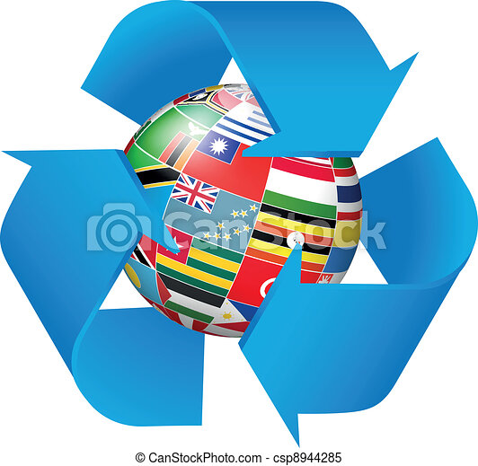 Recycling symbol with flags globe  - csp8944285