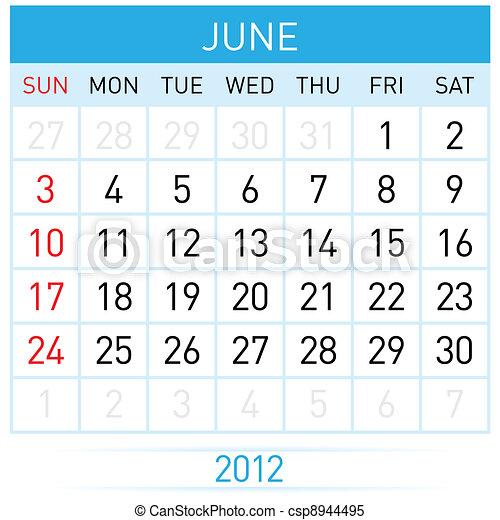 June Calendar - csp8944495