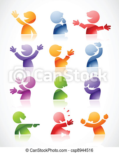 Colorful talking characters - csp8944516